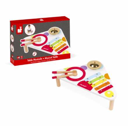 Janod Confetti Musical Table - Xylophone, Cymbal and Drum